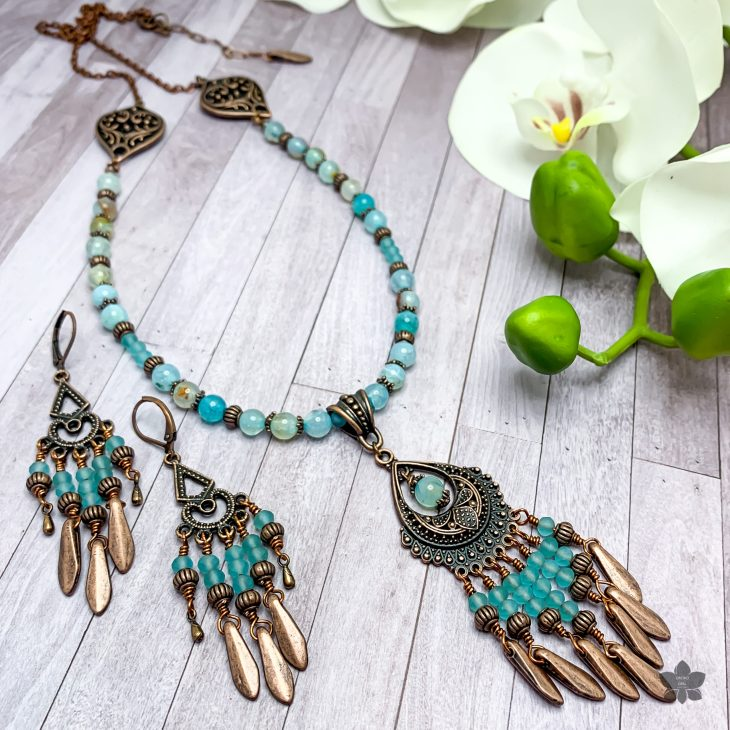 antique copper and aqua agate chandelier necklace and earrings