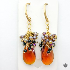 dark topaz crystal cluster earrings
