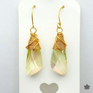 light yellow swarovski drop earrings