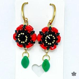 red and black poppy flower earrings