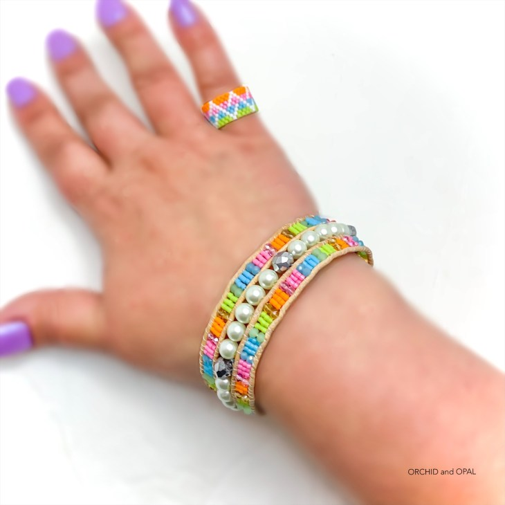 Three Row Cord Beaded Cuff Bracelet