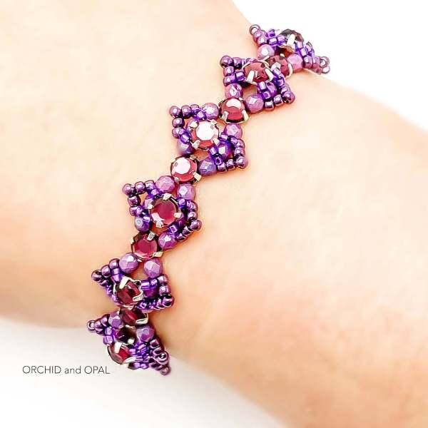 Beaded Crystal Bracelet - Rose Montee Marquise - Purple