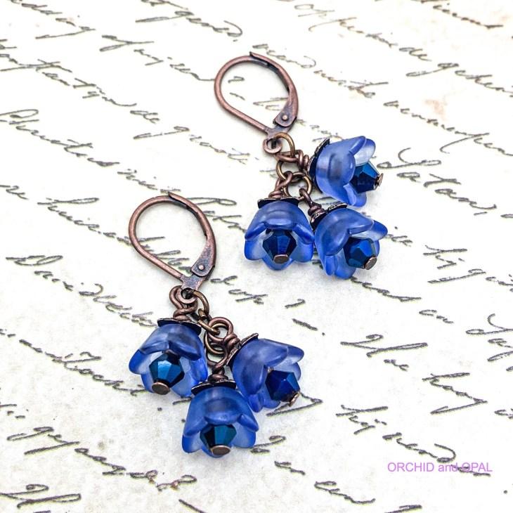 easy bell flower beaded earrings