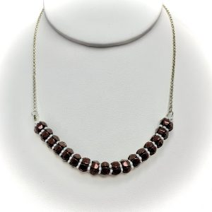 brown white pinch bead necklace