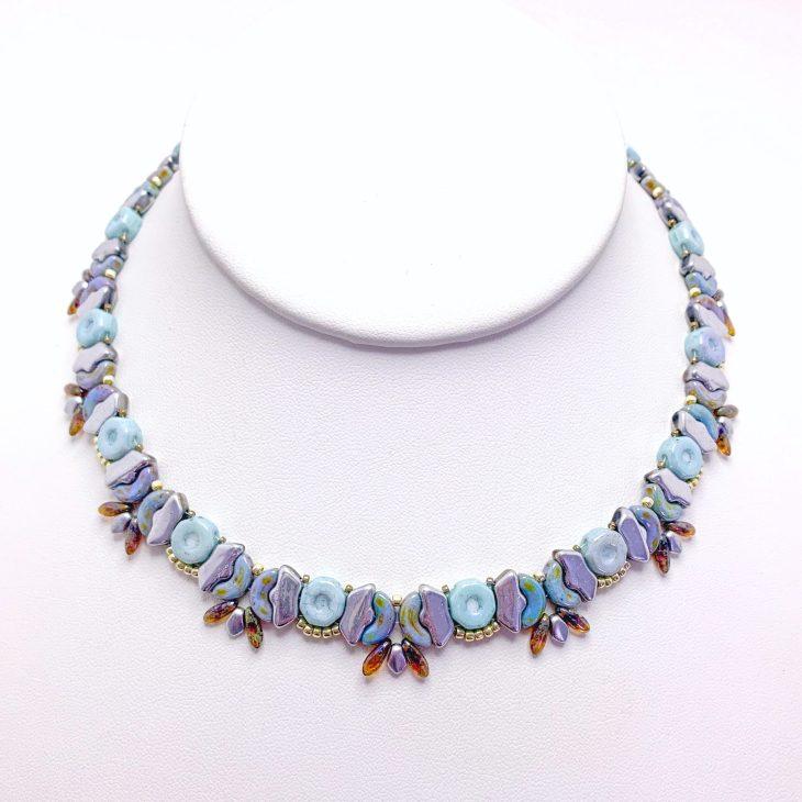 Butterfly Garden Beaded Necklace Blue
