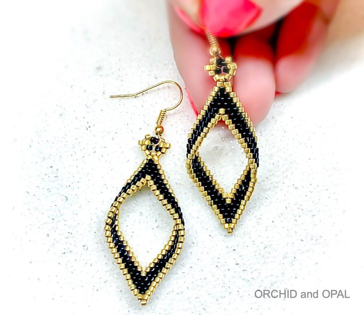 open folded diamond brick stitch earrings