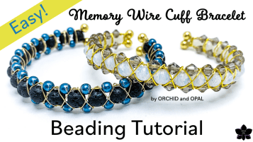 EASY Beaded Memory Wire Cuff Bracelet | Right Angle Weave