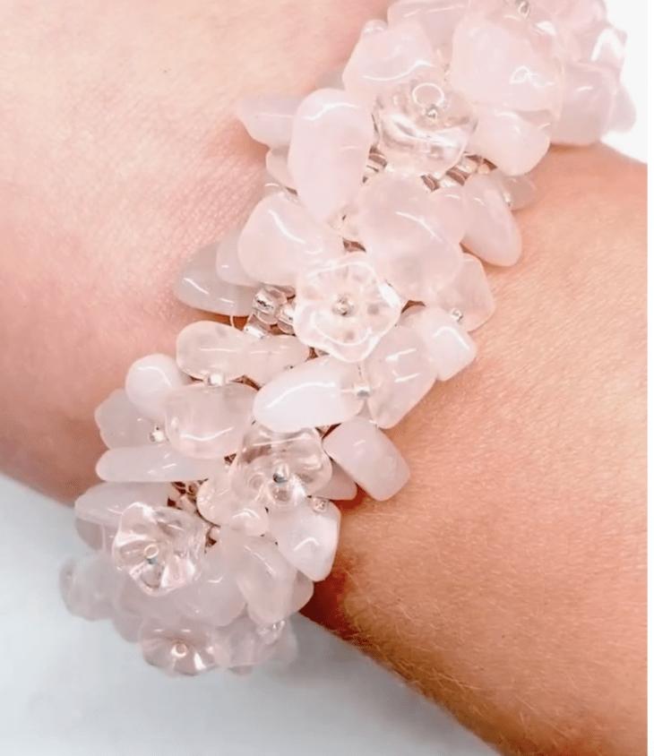 gemstone chip hedge bracelet rose quartz