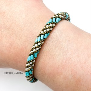 russian spiral beaded bugle bracelet