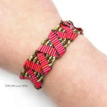 bugle bead ribbon bracelet red