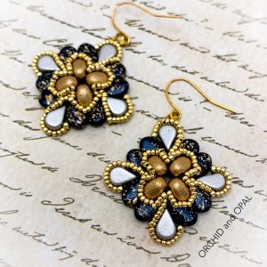 paisley flourish earrings black and gold