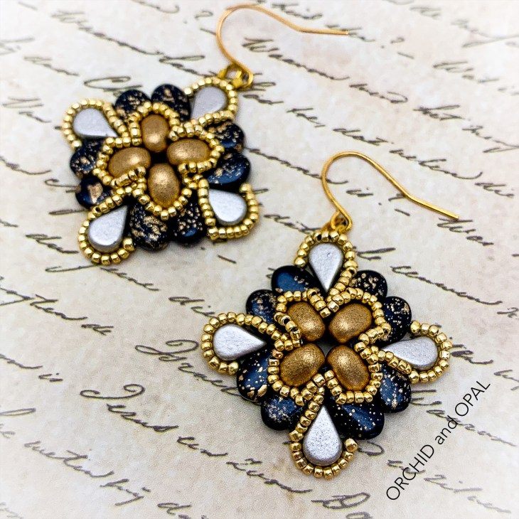 paisley flourish earrings black and gold