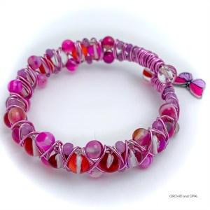 Fuschia Agate and Moonstone Butterfly Bracelet