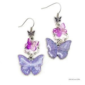 Lavender Resin Butterfly Earrings