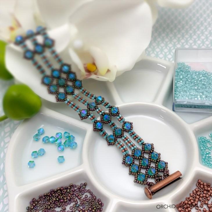 netted bicone and herringbone bracelet
