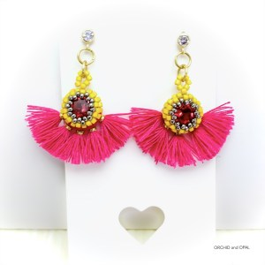 Fuschia and Gold Beaded Tassel Earrings