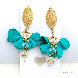 Turquoise and Gold Fan Flower Earrings