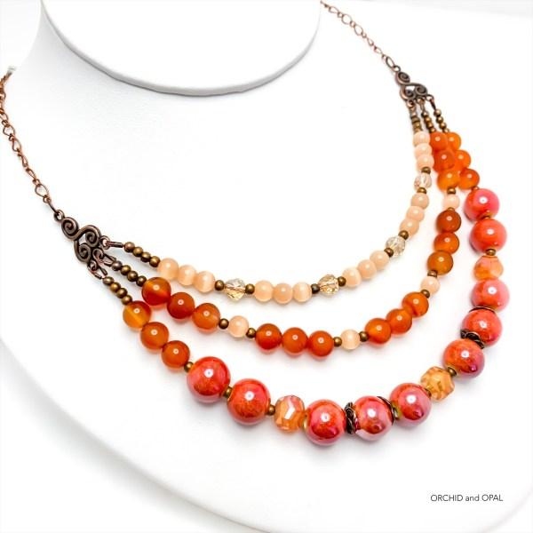Carnelian Orange Three-Strand Necklace on Antique Brass