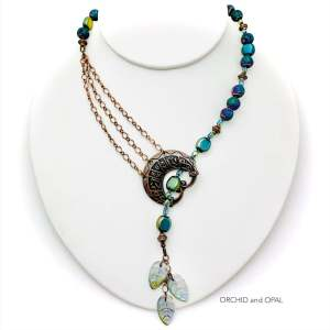 Blue Iris Electroplated Lava and Antique Copper Beaded Leafy Lariat Necklace