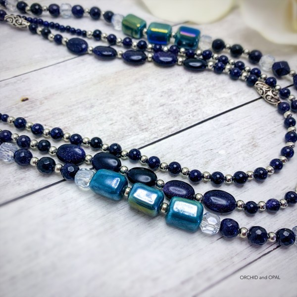 Blue Goldstone and Teal Ceramic Beaded Multi-Strand Necklace