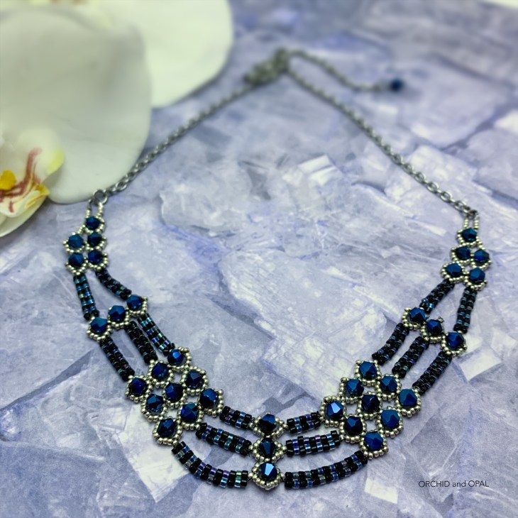 netted bicone and herringbone necklace