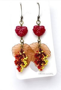autumn leaf brick stitch earrings