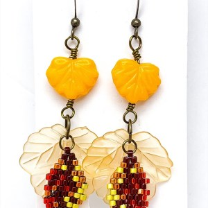 autumn leaf brick stitch earrings