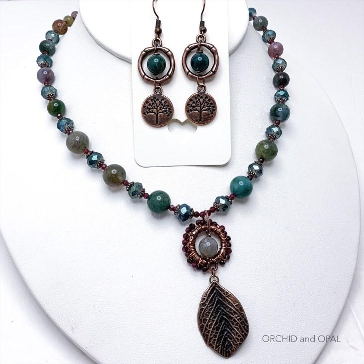 fancy jasper and garnet leaf pendant necklace