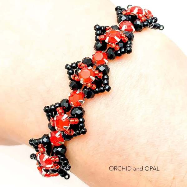 Beaded Crystal Bracelet - Rose Montee Marquise - Red and Black