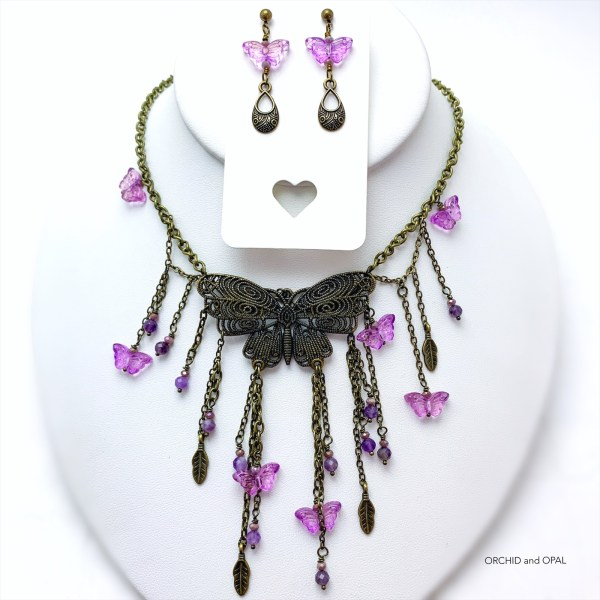 Butterfly Necklace Set - Purple and Antique Brass