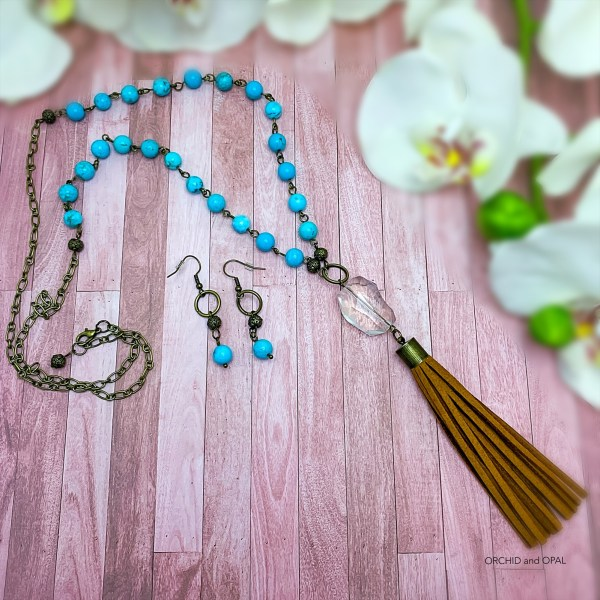 turquoise and brown suede tassel necklace set