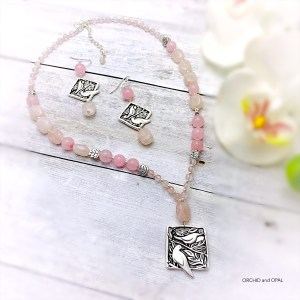 rose quartz and silver bird pendant necklace and earrings set