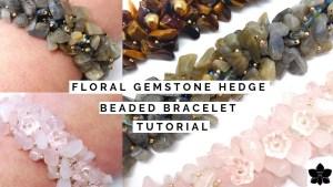floral gemstone chip hedge bracelet