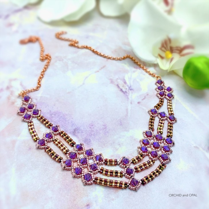 netted bicone and herringbone necklace_orchid and opal-2