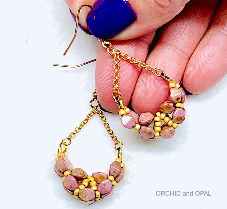 pinch bead rope earrings