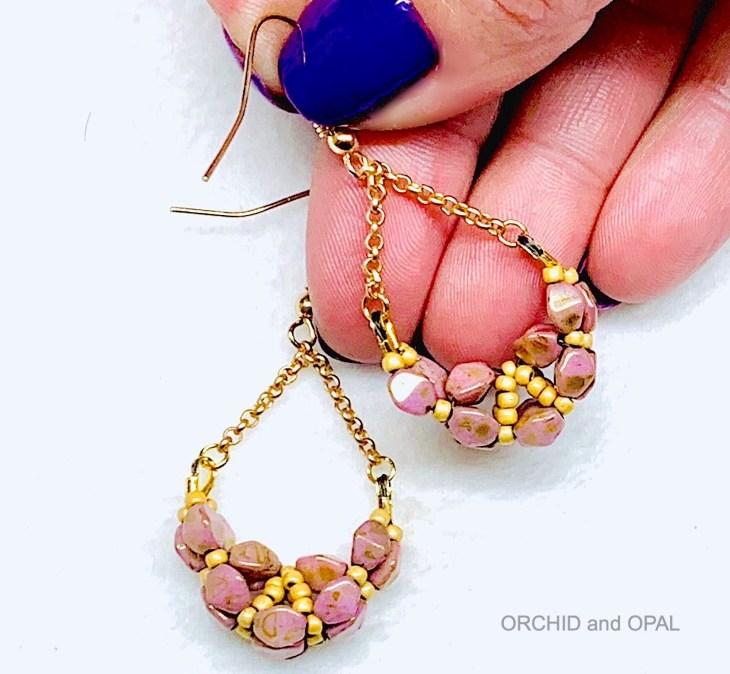 pinch bead rope earrings