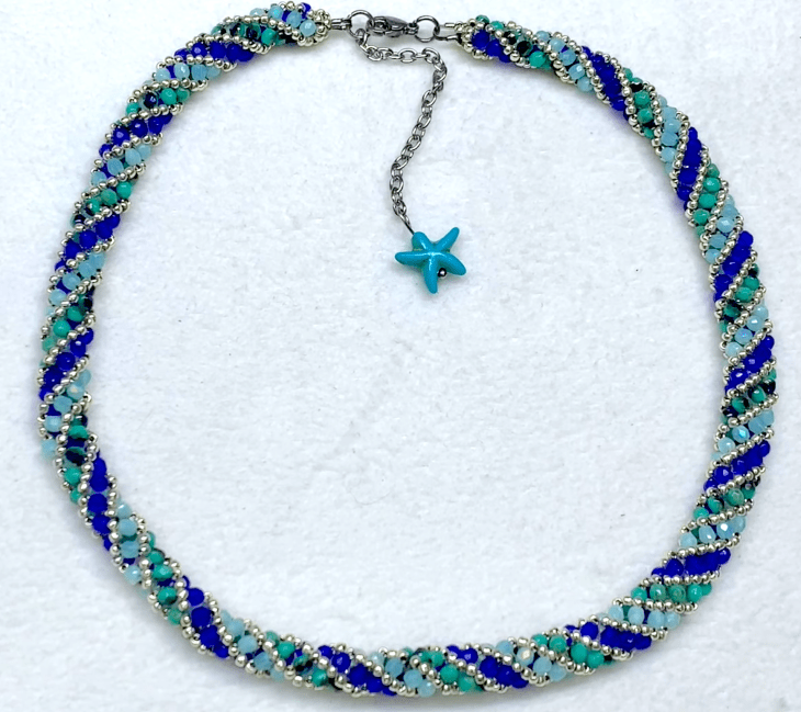russian spiral beaded rope necklace ending