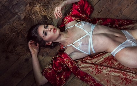 Model wears ivory Dusk Glow lingerie set