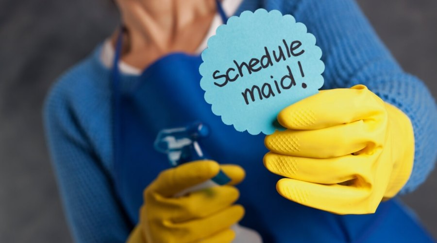 Sign of Schedule maid services - Orchid Cleaning Services