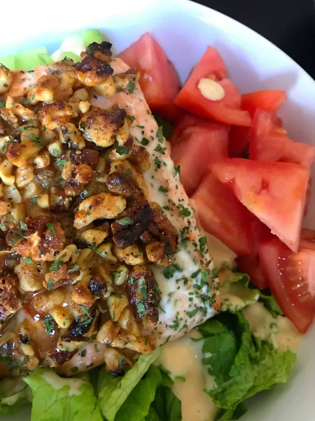 Salad: Maple Walnut + Pecan Encrusted Salmon