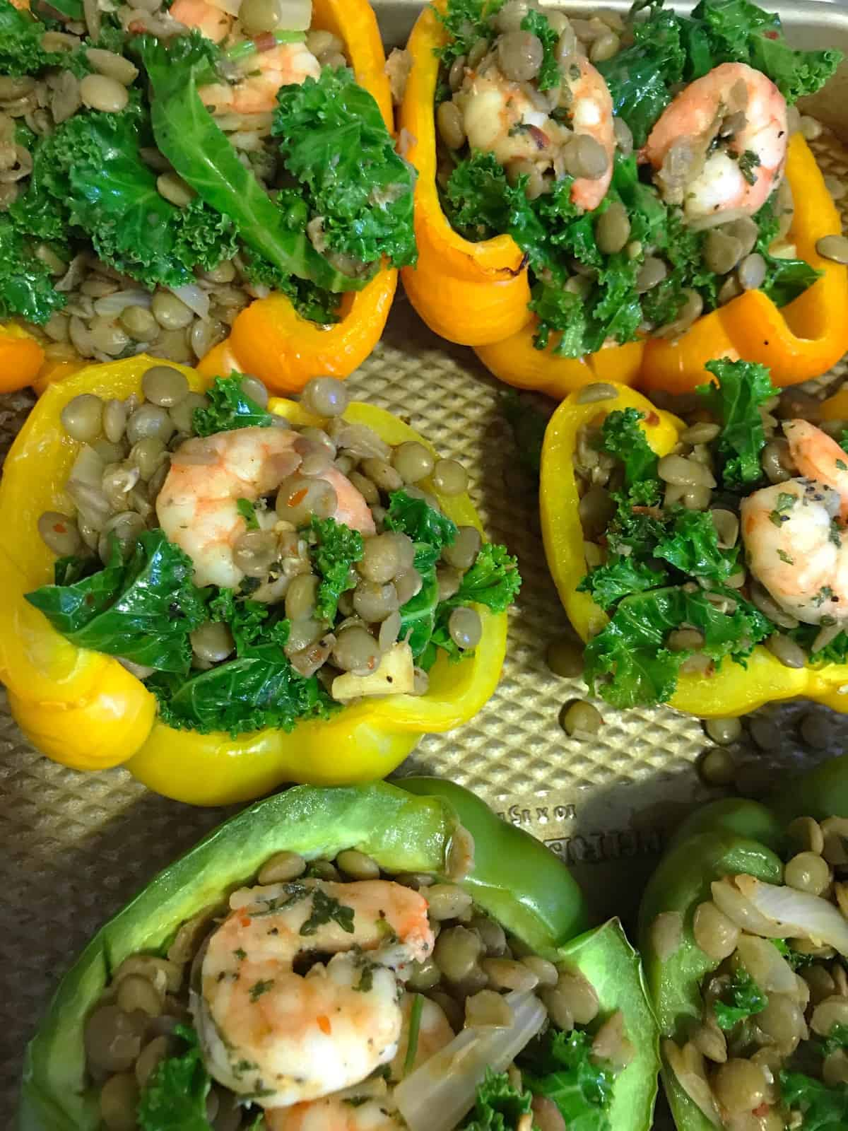 Shrimp, Lentil + Kale Stuffed Peppers
