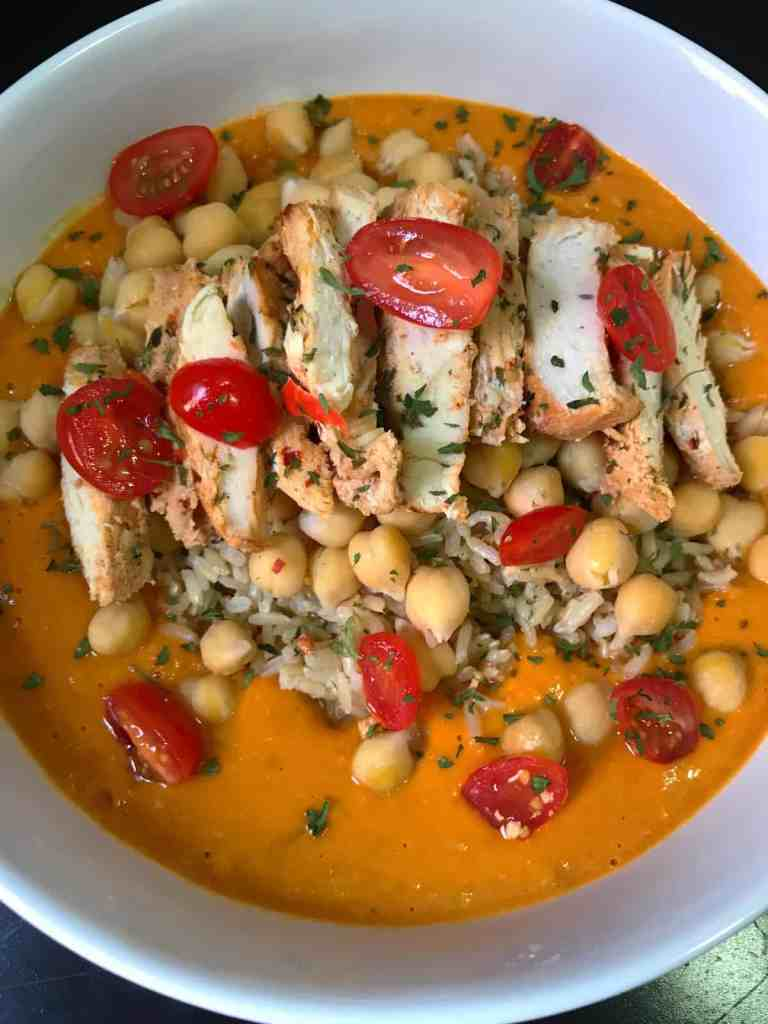 Spicy Tomato Chickpea Sauce + Baked Chicken