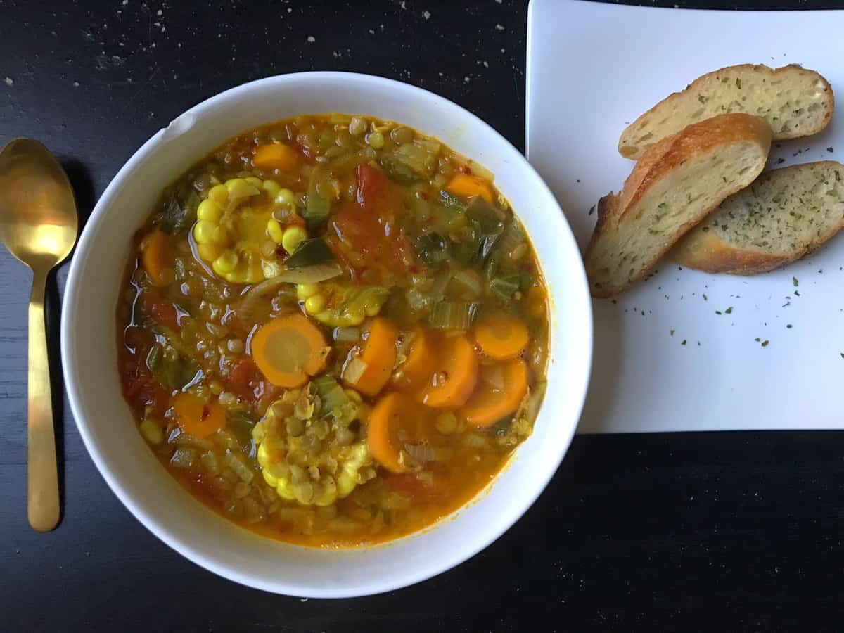 Spicy Vegan Lentil + Veggie Soup