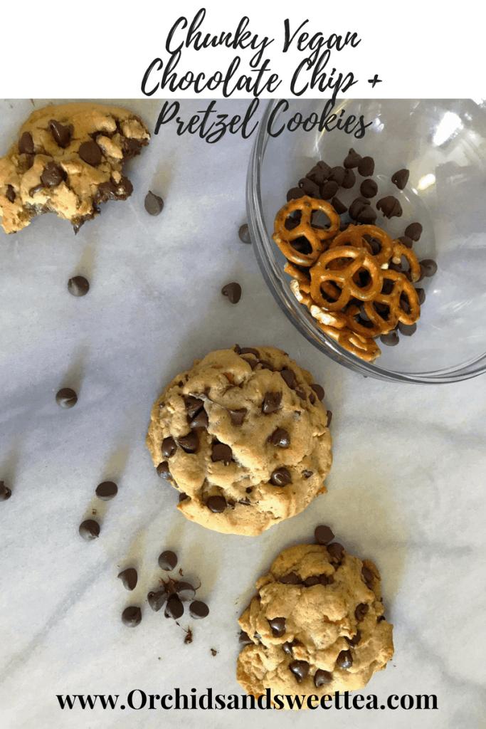 Chunky Vegan Chocolate Chip + Pretzel Cookies