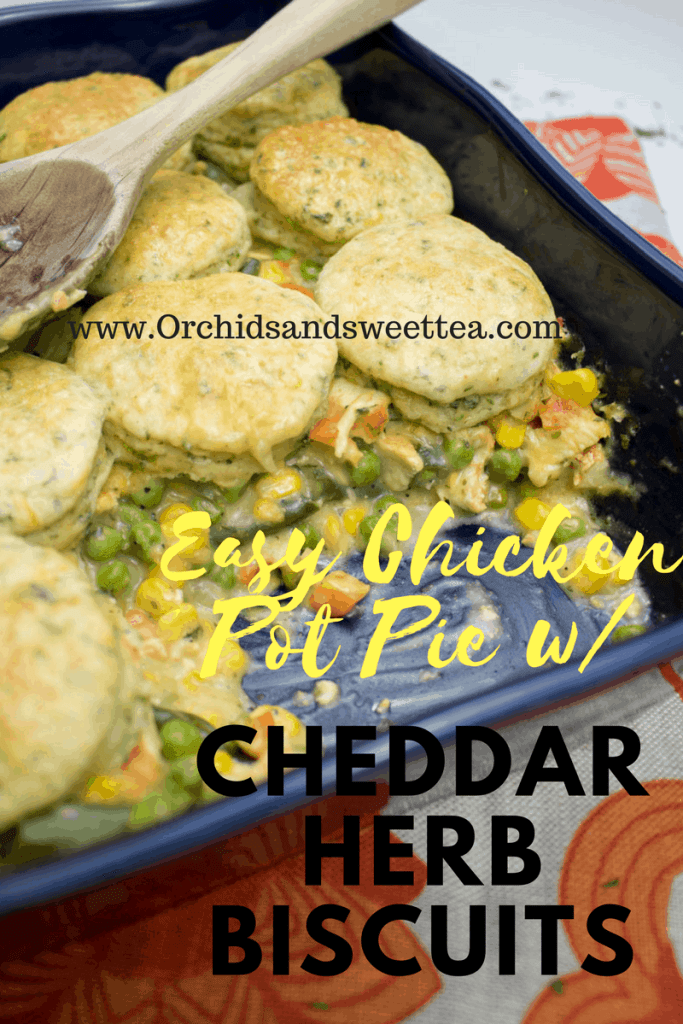 Easy Chicken Pot Pie with Cheddar Herb Biscuits