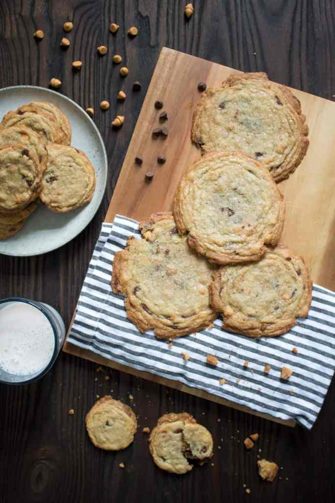 Oversized Crinkled Chocolate Chip Butterscotch Cookies
