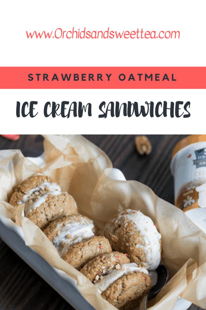 Vegan Strawberry Oatmeal Ice Cream Sandwiches