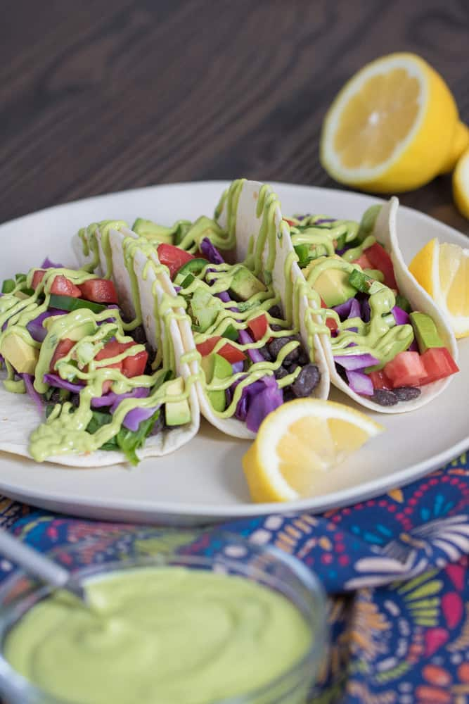 Vegan Black Bean Tacos + Avocado Basil Mango Sauce