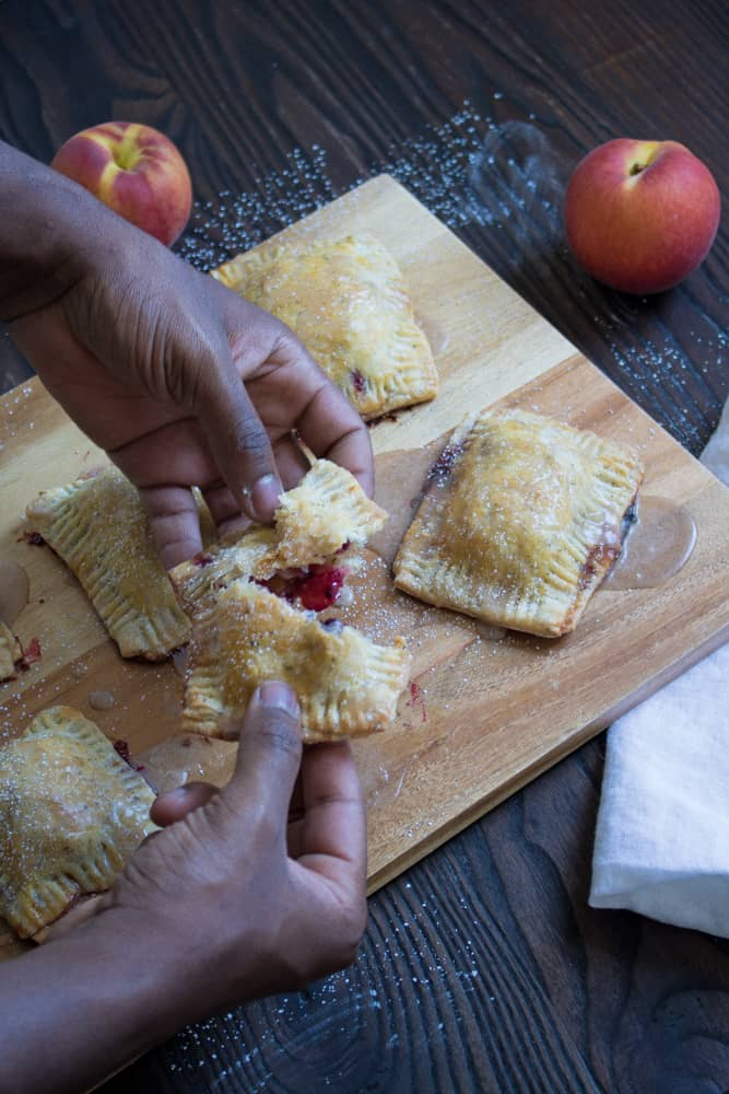 Blackberry Peach Basil Hand Pies with Glaze