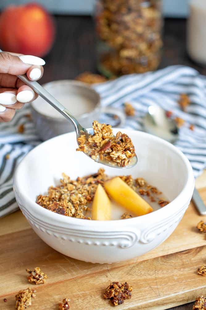 Caramelized Peach Cinnamon Homemade Breakfast Granola